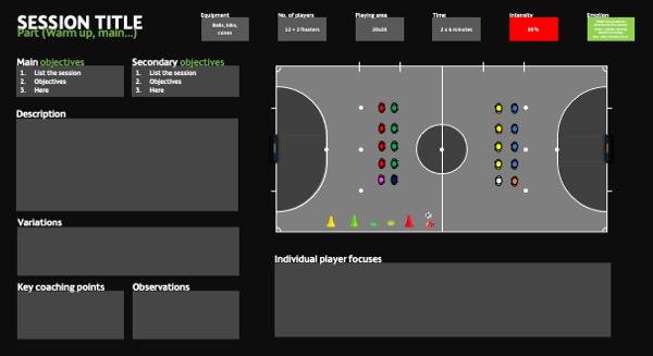 Futsal session plan template